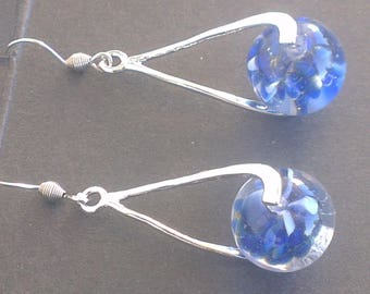 Earrings: Nuanced blue on silver spiral swirls