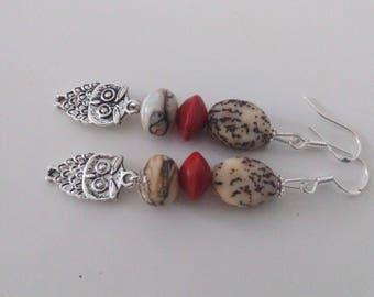 Earrings: little owls - seeds and spun glass
