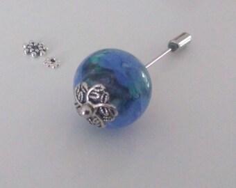 PIN - purple pansies - Lampwork Glass