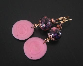 Earrings in plum and pink - glass leading and polymer clay