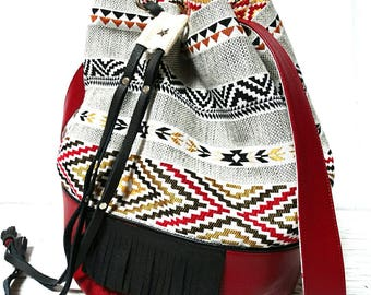 Red leatherette and fabric bucket bag ethnic