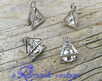 2 charms, dangle triangle Silver earrings with stone crystal clear diamond 15mm approx.