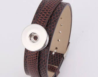 wristwatch leather chocolate effect snake for snaps and clasp adjustable