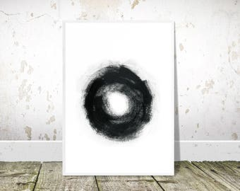 Black Abstract Painting, Black Circle, Printable Art, Black Contemporary Print, Black and white, Abstract Print, Modern Wall Art, Minimalist