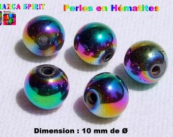 5 color 10 mm Rainbow Hematite round beads