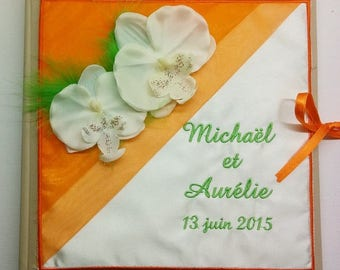 Personalized and embroidered the names green orange Orchid theme wedding guestbook