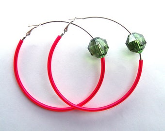 large red and green hoop earring