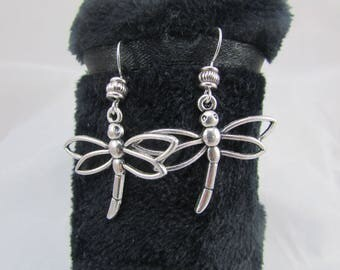 """Earrings hooks with """"Dragonfly"""" pendant"""