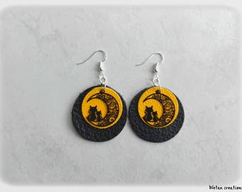 Earrings - leather earrings charm/yellow/black cat