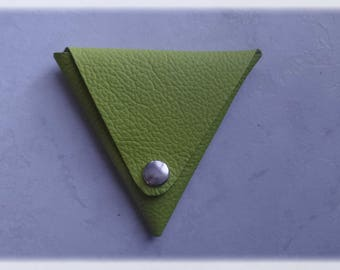 Lime leather triangle coin purse