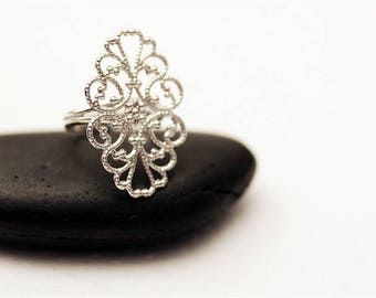 PROMO 12 Adjustable ring Supports with OVAL filigree tray silver 31x20mm ♥