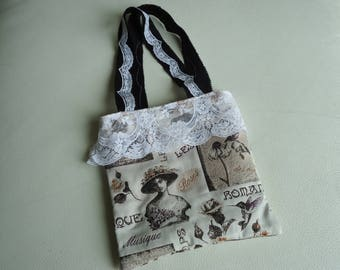 """SO ROMANTIC"" BAG FULLY LINED AND DECORATED WITH LACE"