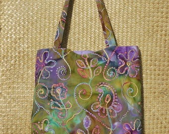 Large reversible tote bag lined in embroidered Indian batik