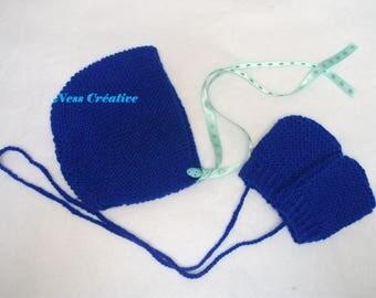 Baby bonnet Hat indigo blue neon + mittens offer 6 months
