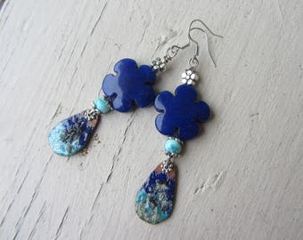Copper drops earrings charms enamel and jade stone flower, blue Sapphire and turquoise