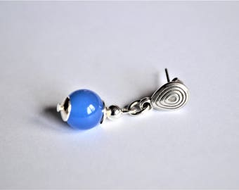 Carved blue agate beads and silver plated earrings studs / stone of inner peace / women gift