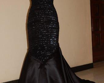 black glitter satin robe