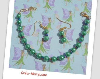 Set bracelet and earrings for pierced ears green - surgical steel hook