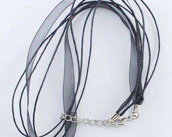 Set of 50 rounds of neck waxed cotton black organza Ribbon cord necklaces