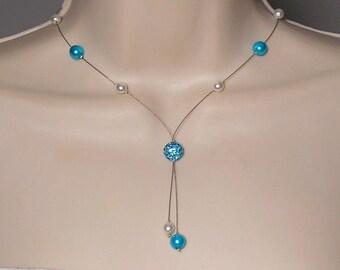 Bridal white - turquoise beads Collection Classica - Marina necklace - wedding bridal wedding dress bridal wedding necklace pearls
