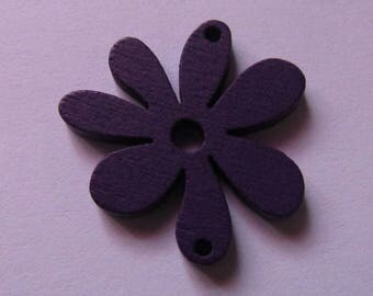 purple flower 24mmx25mm wood connector