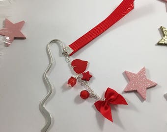 Bookmark Ribbon and black and silver charms