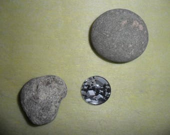 glass cabochon motif cubic 3D colors gray, round 25 mm