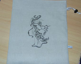 Pouch sand linen with a pretty lady in the wind