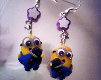 purple flower earrings, minions and strap