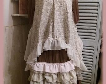 Shabby vintage cotton petticoat skirt and linen fleurette multi ruffle boho Bohemian