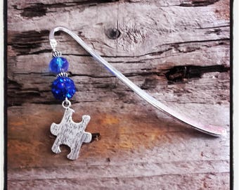 Royal Blue puzzle silver charm bookmark