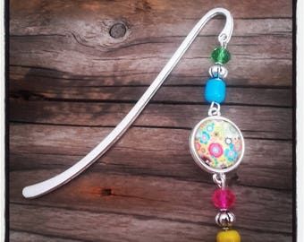 Silver charm bookmark pink/blue beads and cabochon