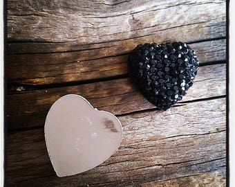 set of 2 black Rhinestone Heart Cabochons