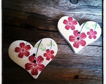 set of 2 fancy wooden heart buttons-painted flowers.