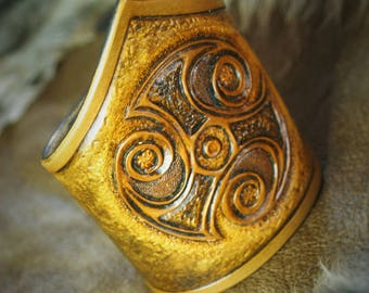 Ancient Celtic viking cuff mens tooled leather bracelet