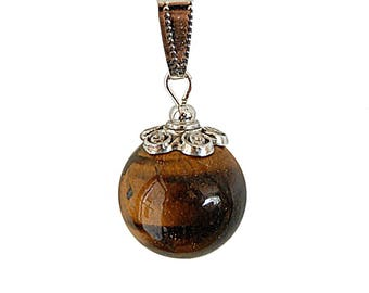 Gemstone pendant necklace. Beautiful Pearl on adjustable cord Tiger eye.