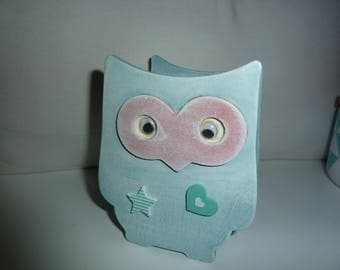 OWL piggy bank, customized, hearts and star to the weathered look