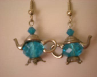 Capri blue teapot earrings