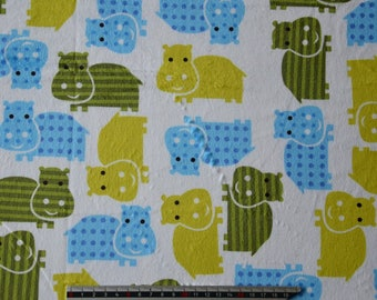 Green and Blue Hippo printed velvet minkee fabric Michael Muller
