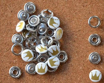 Bag of 20 snaps CLAWS white pattern * WREATH * 11mm to ask