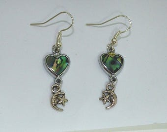 Abalone heart earrings and its constellations