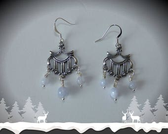 Charming earrings chandeliers prints draped Victorian white Moonstone