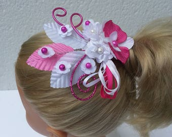White and Fuchsia Orchid wedding hair