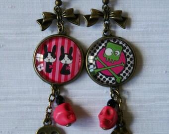 """Little monsters"" hanging earrings, bronze"