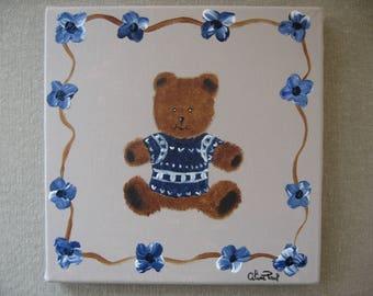 Free shipping! Teddy bear blue flowers