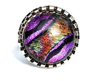 Round ring purple pink, technology - fusing Dichroic Glass Adjustable ring