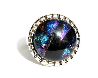 Round ring in blue, black, technique of fusing - Dichroic Glass Adjustable ring