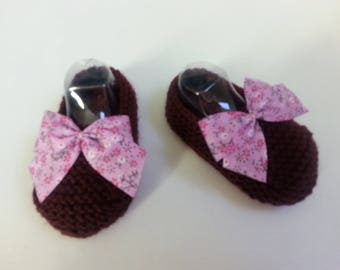 Little toes Burgundy 6-9 months enhanced with a bow liberty - wool slippers