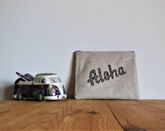 Cotton zip Aloha Kit makeup pouch