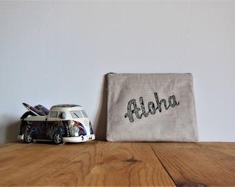 Cotton zip Aloha Kit makeup pouch